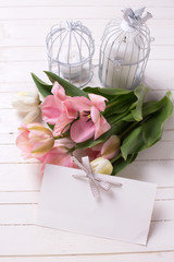 Fresh  spring white and pink  tulips,  candles in decorative bird cages and empty tag on white  painted wooden background. Selective focus. Place for text.