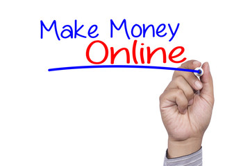 Business concept handwriting marker and write Make Money Online