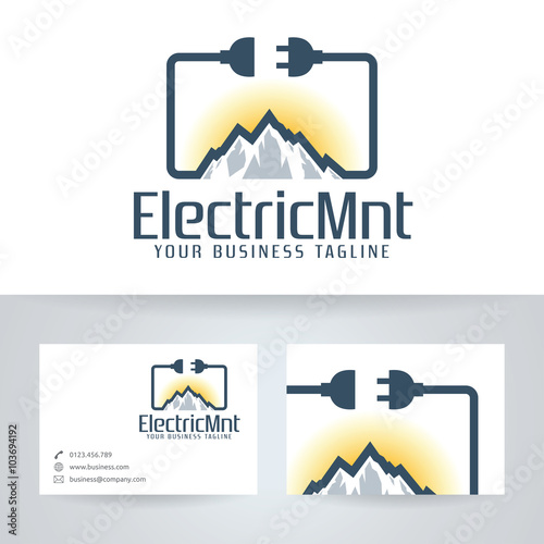 Electric mountain vector logo with business card template stock electric mountain vector logo with business card template colourmoves