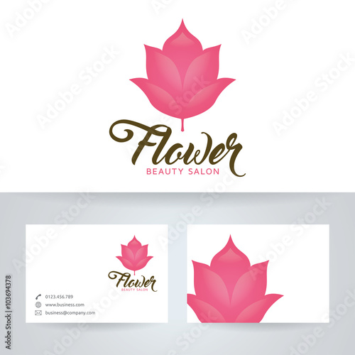 Flower Beauty Salon Vector Logo With Business Card Template Stock - Beauty salon business cards templates free