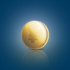 Gold coin with yen sign on blue background. Vector illustration 10 EPS