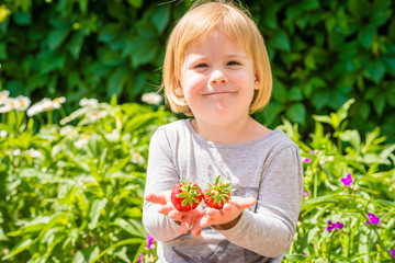 Smiling little girl holds in hands two strawberries. Sunny summer day on countryside village.