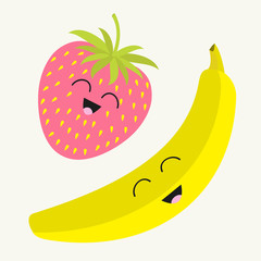Banana and strawberry. Happy fruit set. Smiling face. Cartoon smiling character with eyes. Friends forever. White background. Flat design.
