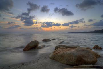 Pantai Hulu Tembeling Pahang Malaysia at sunset.