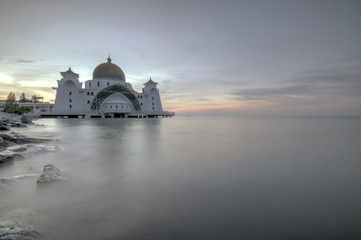 Strait mosque Melacca, Malaysia during sunrise.