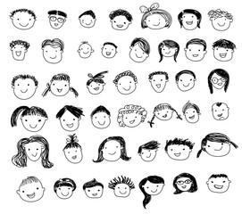 Group of sketch kids face set