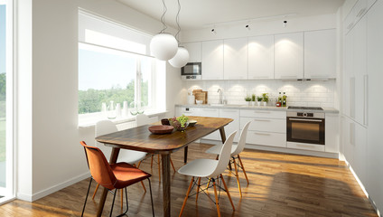 3D rendering of a modern light colored kitchen Fotoväggar