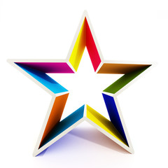 Multi colored star shape isolated on white background
