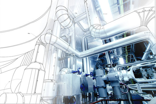 wireframe computer cad design of pipelines for modern industrial