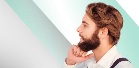Composite image of profile view of hipster smiling