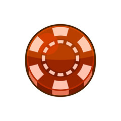 Red Casino Poker Chip Isolated on White Background. Vector