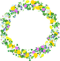 A beautiful wreath of small colorful flowers