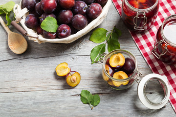Homemade plum compote
