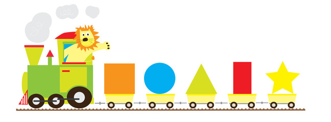 train with a lion and basic geometric shapes on white background / educational set of shape for children