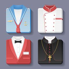 Set of professional uniform icons