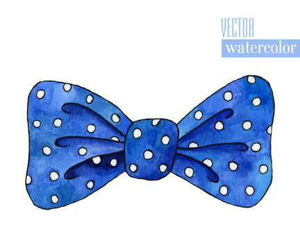Illustration of blue watercolor bow with polka pattern