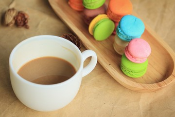 macaroons and hot coffee