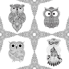 Set from illustration of ornamental owls. Set of Bird illustrated in tribal. Isolated on white