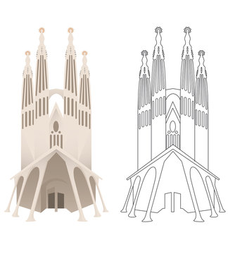 vectors of European monumental cities.  SAGRADA FAMÍLIA, BARCELONA