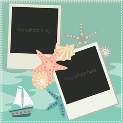 Photo Frame. Vector illustration with  sea shells, sea stars and ship