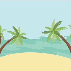Vector illustration.Landscape with sea and palm trees