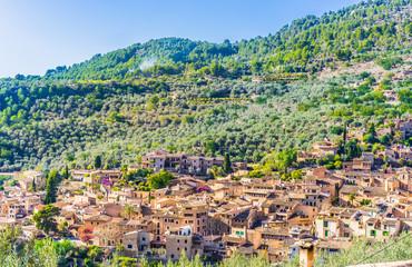 Panorama of an mediterranean old mountain village Spain Majorca