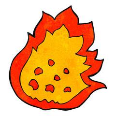 retro cartoon burning fire