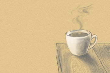 Coffee cup on wood panel. Digital monotone drawing for your design. Space for text.