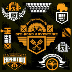 Set off-road suv car emblems, design elements, badges and icons.