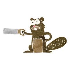 retro cartoon beaver with saw