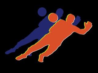 Silhouette of soccer goalie, vector draw