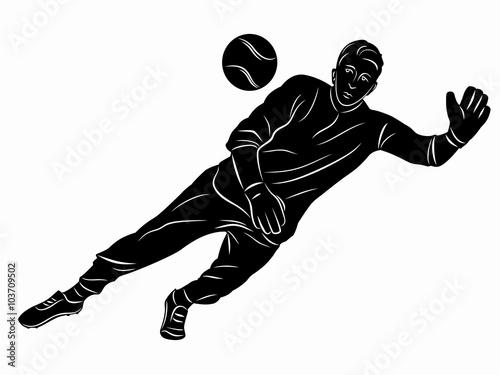 silhouette of soccer goalie vector draw