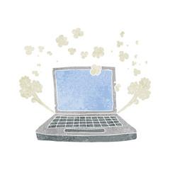 retro cartoon laptop computer fault
