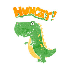retro cartoon hungry dinosaur