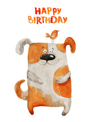 Dog smiling with bird. Happy birthday. Watercolor illustration