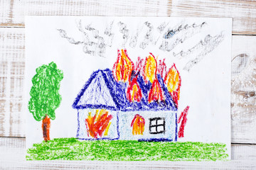colorful drawing: burning house