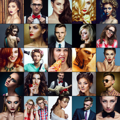 Hipster people concept. Collage (mosaic) of fashionable men, women with stylish accessories, glasses, healthy and unhealthy food, wearing trendy clothes. Close up. Studio shot.