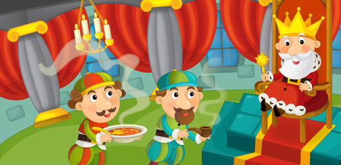 Cartoon king in the castle - illustration for the children