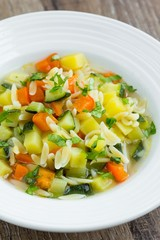 Vegetable minestrone with orzo pasta, zucchini, capsicum, potato