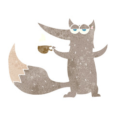retro cartoon wolf with coffee cup