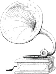 old gramophone sketch
