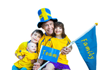 Happy family team portrait, flag and pennant with text. Isolated.