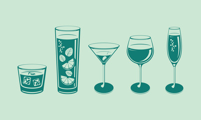 Various glasses and drinks. Blue theme. Champagne. Wine. Cocktail. Whiskey. Simple vector illustration.