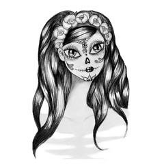 Sugar skull lady with paint