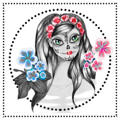 Hand drawn illustration Day of dead girl