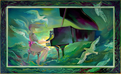 Concerto for Orchestra and Sea. Oil painting on wood.