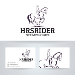 Horse rider vector logo with business card template