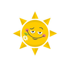 Icon of cute sun with flower.