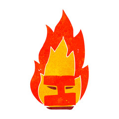 retro cartoon flaming letter I