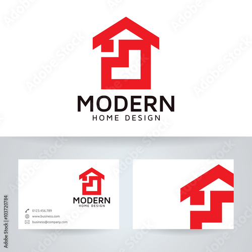 Modern home design vector logo with business card template\